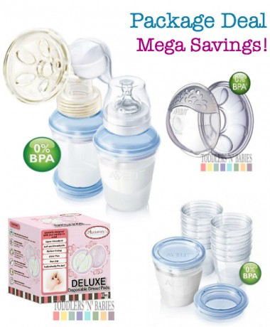 Package Deal Deluxe - Philips AVENT BPA Free with VIA Storage System PES Manual Breast Pump