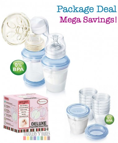 Package Deal - Philips AVENT BPA Free with VIA Storage System PES Manual Breast Pump