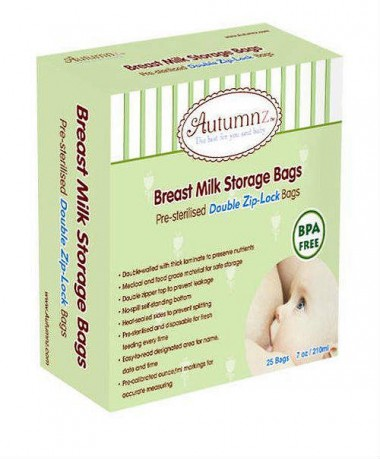 Autumnz Double ZipLock Breastmilk Storage Bag (25 bags) *7oz*