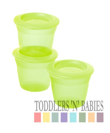 Tommee Tippee Essentials Food Pots & Lids (Pack of 3) - Green