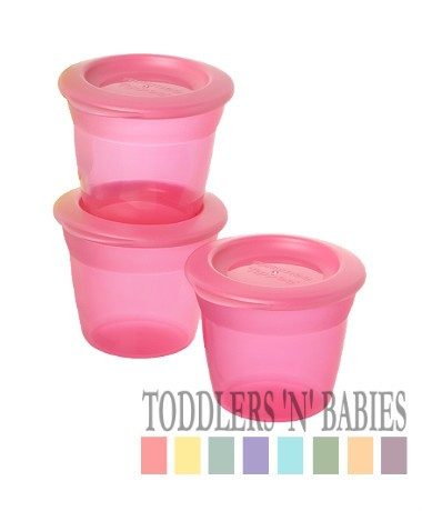 Tommee Tippee Essentials Food Pots & Lids (Pack of 3) - Pink