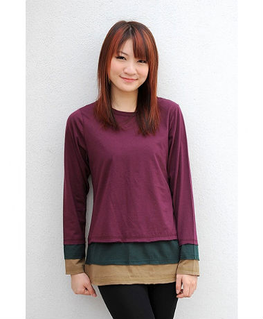 Autumnz Colourblock Tee - Purple